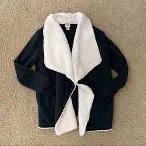 Mossimo Charcoal Grey Sherpa Lined Cardigan